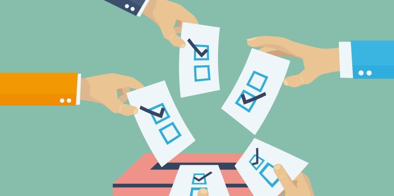 Piirros, jossa kädet tiputtavat vaalilippuja uurnaan.